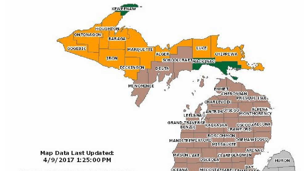 Michigan Dnr Burn Permit Map DNR: No burn permits issued for most of northern Michigan on